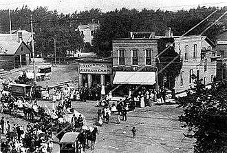History of Northwestern University - Fountain Square, Evanston, Illinois in 1876.