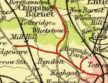 A 1900 map of part of Middlesex and Hertfordshire (now incorporated into Greater London) showing rail lines.