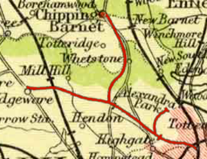 Alexandra Palace railway station (1873–1954) - Image: Extract of 1900 Map showing Edgware Highgate and London Railway