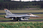 F-105F (with F-16 taxiing by) (16749915724).jpg