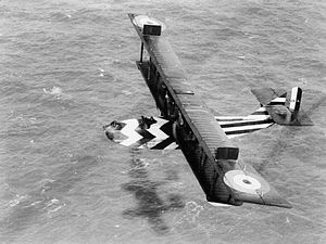 Felixstowe F.2 - Felixstowe F.2A (N4545) in dazzle scheme during an anti-submarine patrol. The dazzle camouflage adopted aided identification during air combat and on the water in the event of being forced down.