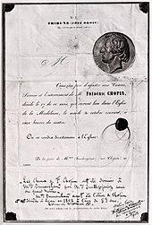 Ankündigung der Beerdigung von Frédéric Chopin, unterzeichnet von seiner Schwester (Quelle: Wikimedia)