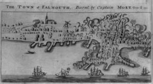 Burning of Falmouth - A 1782 engraving depicting the burning of Falmouth