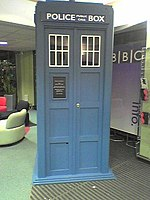 False Tardis at the BBC A copy of the Tardis in the foyer of the BBC studios in Manchester. Smaller than the real thing, in a lighter blue, and made of plywood.