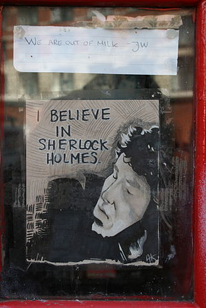 Fandom - Fan art for the Sherlock TV series on an English telephone booth