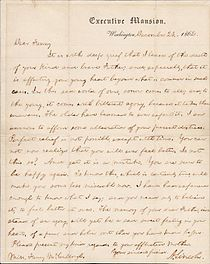bixbys condolence letter probably resembled this one lincoln sent to fanny mccullough in 1862
