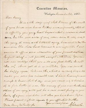 Letter to Fanny McCullough - Abraham Lincoln's letter to Fanny McCullough