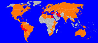 Fasciola hepatica - Fasciola hepatica prevalence. The countries in red are those with high prevalence, those in orange have low-medium prevalence.