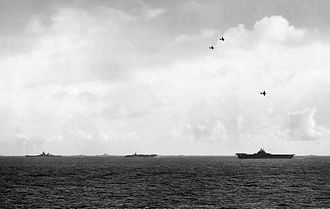 Fast Carrier Task Force - Ships of the Fifth Fleet move together under the cover of a combat air patrol.