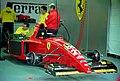Ferrari 412T2 - Jean Alesi in the pit garage at the 1995 British GP, Silverstone (49713563496).jpg