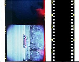 Medium format (film) - A size comparison of medium-format film (left) and 35-mm film. Medium-format film lacks the sprocket holes of 35-mm film.