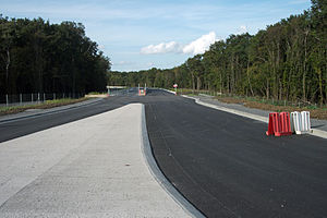 A71 autoroute - Three months before opening, the new terminus of A719 autoroute.