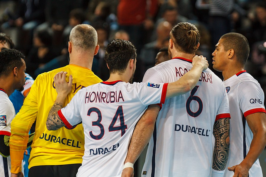 Semi-finale of the Handball League Cup, between Fenix Toulouse and PSG: Omeyer, Honrubia, Accambray and Narcisse satisfied by their victory over Toulouse.