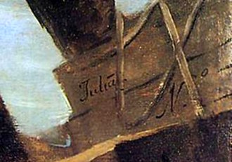 The Colossus (painting) - Signature of Asensio Juliá on El Náufrago (The Shipwreck)