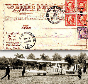 Airmails of the United States - The first U.S. Air Mail takes off from Washington, D.C., on May 15, 1918.