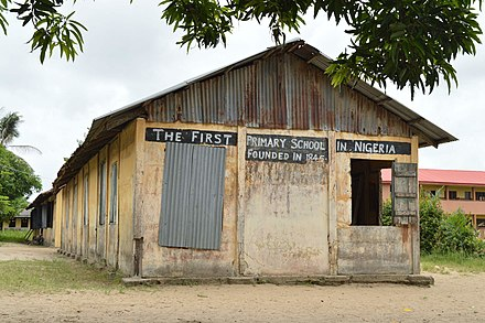 First primary school building in Badagry, Nigeria, built in 1845. First primary school building in Nigeria in Badagry, Nigeria.jpg