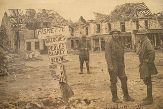 Battle of Fismes and Fismette -  American troops in Fismette around 1918.