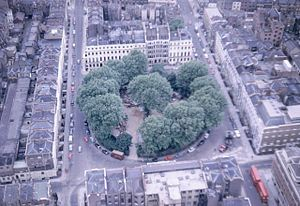 Fitzroy Square - Fitzroy Square, view to the north from the Post Office Tower in 1967