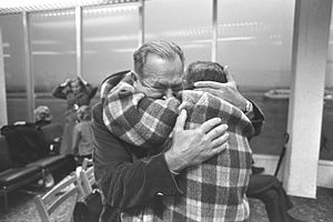 1970s Soviet Union aliyah - 1972. A tearful reunion after 20 years between a brother and sister, who just arrived from Russia, at Lod Airport