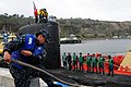 Flickr - Official U.S. Navy Imagery - Line handlers take in lines cast ashore from the submarine USS Topeka..jpg