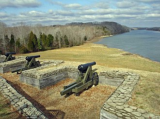 Fort Donelson National Battlefield - Part of the lower river battery at Fort Donelson, overlooking the Cumberland River