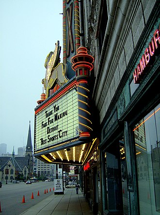 M-1 (Michigan highway) - Marquee of the Fox Theatre with the Central United Methodist Church in the background