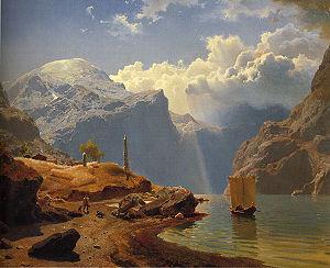 Hans Gude, Fra Hardanger, 1847. Example of Nor...