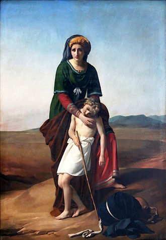 Concubinage - Hagar and Ishmael in the Desert by François-Joseph Navez, 1820. Hagar was Abraham's Egyptian concubine. Ishmael was his first-born son.