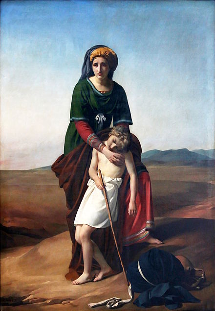 Hagar and Ishmael in the Desert by Francois-Joseph Navez, 1820. Hagar was Abraham's Egyptian concubine. Ishmael was their first-born son according to the Bible. Francois-Joseph Navez - Agar et Ismael dans le desert.jpg