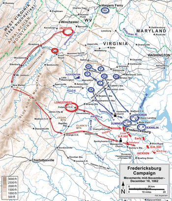 Fredericksburg Campaign initial movements