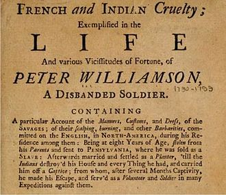 Peter Williamson - Title page of French and Indian Cruelty