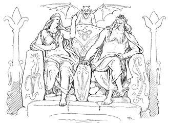Hlidskjalf - Frigg and Odin wagering upon Hliðskjálf in Grímnismál (1895) by Lorenz Frølich.