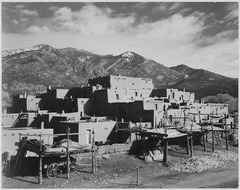 "Full view of city, mountains in background, ""Taos Pueblo National Historic Landmark, New Mexico, 1941."", 1941 - NARA - 519984.tif"
