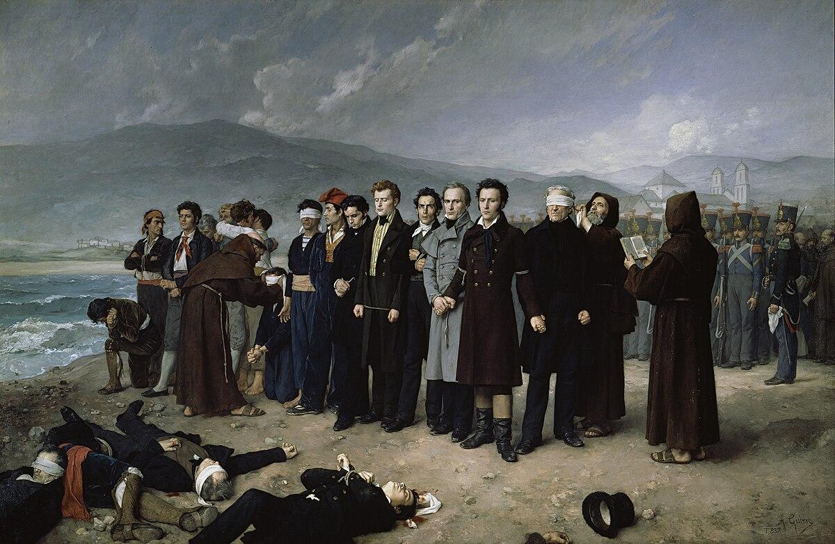 Fusilamiento de Torrijos y sus compañeros en las playas de Málaga ...