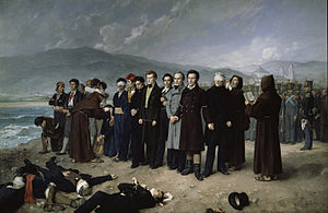 José María de Torrijos y Uriarte -  Torrijos and his companions on the beaches of Málaga in the beach of San Andrés (Málaga) by Antonio Gisbert Pérez, in 1888 (Museum of the Prado).