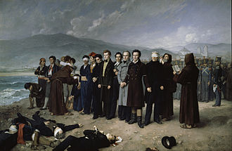 Execution of Jose Maria de Torrijos y Uriarte and his men in 1831 as Spanish King Ferdinand VII took repressive measures against the liberal forces in his country Fusilamiento de Torrijos (Gisbert).jpg