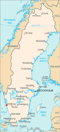 哥德堡在瑞典的位置