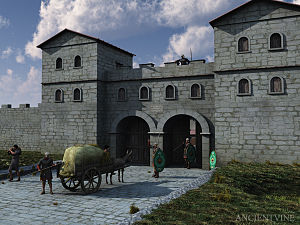 Pons Aelius - An artist's impression of the fort's gatehouse