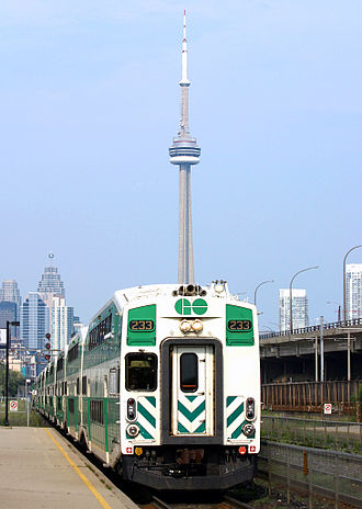 GO Transit - Cab control car of a GO Train with a view of the CN Tower in the background