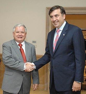 Lech Kaczyński - Lech Kaczyński with President of Georgia Mikheil Saakashvili in 2007