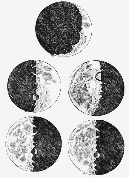 Galileo's sketches of the moon from Sidereus Nuncius (1610)