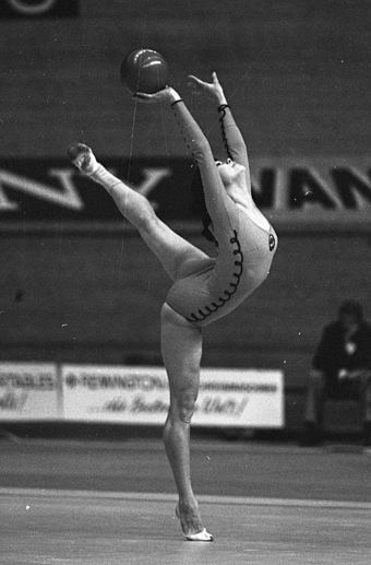 Soviet Galina Shugurova performing an Attitude balance in her ball apparatus Galima Shugurova 1973.jpg