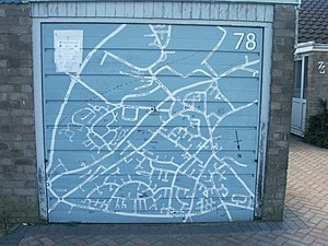 Garage door map, Wymondham. Some kind soul has...