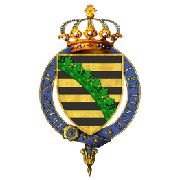 Gartered arms of Frederick Augustus II, King of Saxony, as displayed on his Order of the Garter stall plate in St. George's Chapel. (Source: Wikimedia)