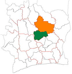 Location of Gbêkê Region (green) in Ivory Coast and in Vallée du Bandama District