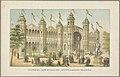 Gebouw van de Nederlandse koloniën op de Wereldtentoonstelling in Amsterdam, 1883 Voorgevel der afdeeling Nederlandsche Koloniën. (titel op object) Herinnering aan Amsterdam in 1883 (serietitel op object), RP-P-OB-89.751-12.jpg