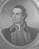 Print shows a man in a 18th century military uniform.