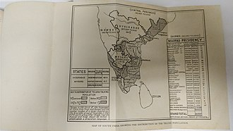Telugu people - Image: Geographical Distribution of Telugu speaking people in British India and other Provinces circa 1937