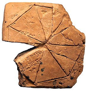 Heptagon - Geometry problem of the surface of a heptagon divided into triangles, on a clay tablet belonging to a school for scribes; Susa, first half of the 2nd millennium BCE
