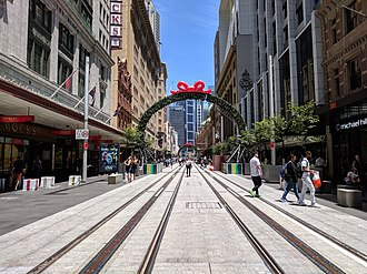 CBD and South East Light Rail - A near-complete section of the George Street pedestrian zone in December 2017